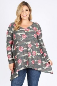 I've Been Thinking Distressed Floral & Camo Top - Sizes 12-20
