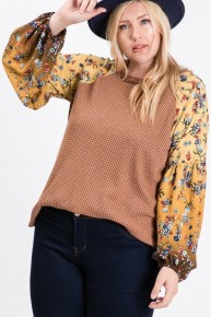 More Than Enough Mustard And Floral Bubble Sleeve Shirt- Sizes 12-20