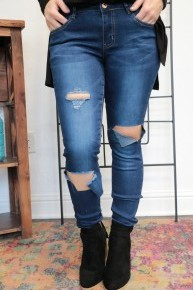 The Rachel Dark Wash Torn Denim Skinny Jeans Sizes 3-13
