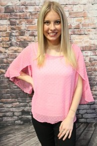 Completely Smitten Dotted Swiss Top with Petal Sleeve in Multiple Colors - Sizes 4-10