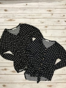 Shake It Up Long Sleeve Polka Dot Tunic with Faux Wooden Buttons and Front Knotted Tie in Multiple Colors Sizes 4-20