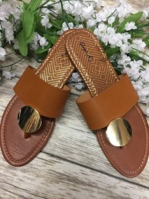 Picnic In The Park Gold Accented Sandals - Brown