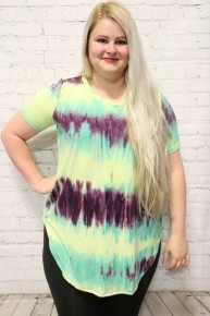Time To Go Tie Dye Top With High Low Scoop Hem- Sizes 12-20