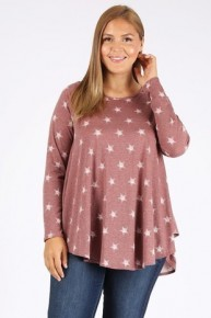 Shooting Star Burgundy Tunic With Star Print- Sizes 12-20