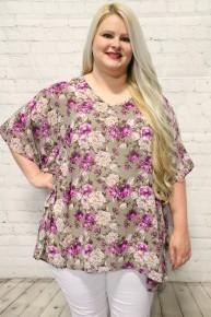 Rescue Me Floral Taupe Kimono Quarter Sleeve Top-Sizes-12-20