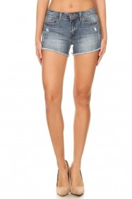 One Last Song Distressed Denim Shorts With Frayed Hem- Sizes 4-10