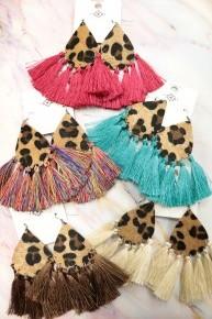 Fiercely His Leopard Tear Drop Earring with Tassels in Multiple Colors