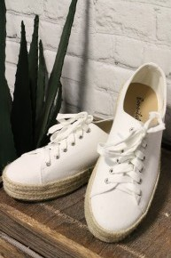 Perfect Day Lace Up Canvas Sneakers In White