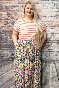 Take My Hand Stripe & Floral Maxi In Multiple Colors- Sizes 4-20