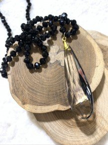 Take Your Time Blacked Beaded Necklace With Crystal Pendant