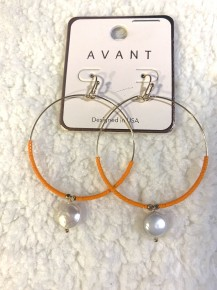 Live By Simplicity Hoop Earrings With Orange Beads & Pearl Accent