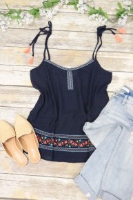 Gone With The Wind Embroidered Tank Top In Navy Sizes 4-10