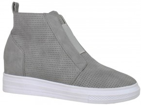 Hurry On Over Wedge Sneaker In Gray - Sizes 5.5-10