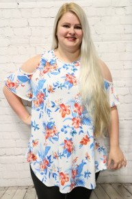 Forever & Ever Floral Cold Shoulder Top In White- Sizes 12-20