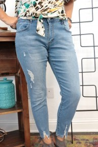 The Layne Distressed Jeans In Denim- Sizes 12-20