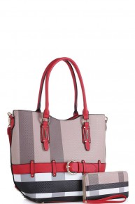 Love Without End Plaid Handbag with Matching Wallet