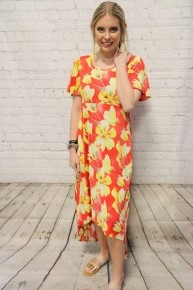 Don't Say Goodbye Red & Yellow Floral Hi-Low Dress- Sizes 4-20