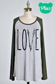 Love with Arrow Gray Raglan with Olive Accent Sleeve Sizes 10-20