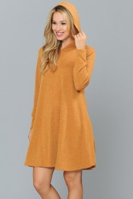 Wonderful Weather Hooded Knit Dress With Pockets In Multiple Colors- Sizes 12-20