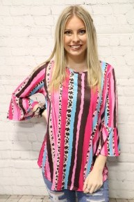 Fell In Love Leopard And Striped Top In Pink- Sizes 4-20