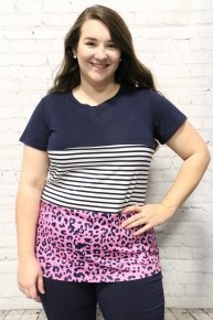 Twisted By You Striped & Leopard Short Sleeve Color Block In Navy - Sizes 4-20