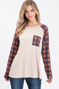 Time will Tell Plaid Raglan in Multiple Colors Sizes 12-20