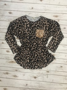Do You Remember Leopard Top with Sequin Pocket - Sizes 4-20
