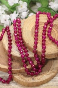 Point Of Perfection Beaded Necklace In Magenta