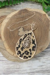 It's My Time Pony Hair Leopard Teardrop Necklace