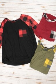 Some Crazy Name Plaid Contrast Top - Multiple Colors- Sizes 12-20