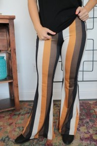 Let's Talk Striped Bellbottom Pants - Sizes 4-20