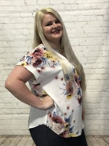 Oh So Cute Floral Top with Lattice Sleeves in White - Sizes 12-20
