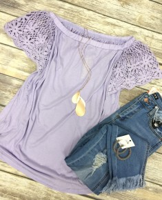 Sit Back And Watch You Go Off The Shoulder Top With Lace In Lilac - Sizes 4-18