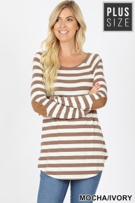 Don't Ask Striped Long Sleeve Top with Elbow Patch Sizes 12-20