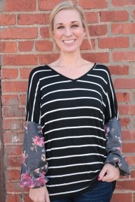 Say It Ain't So Striped & Floral Bubble Sleeve Top In Black - Sizes 4-20