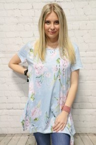 All About the Floral Sharkbite Hem Top in Baby Blue - Sizes 4-20