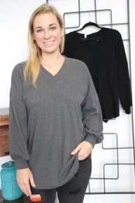 Love Me Too Much V-Neck Waffle Knit Long Sleeve - Multiple Colors - Sizes 4-10