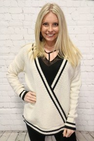 Lose Your Mind Striped Contrast Surplice Sweater - Multiple Colors - Sizes 12-20