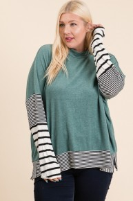 Be the Best Jade Top with Striped Accent Hem and Sleeve-Sizes 12-20