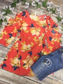 It's Got Your Name On It Floral Cold Shoulder Top In Tangerine - Sizes 4-10