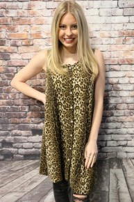 Best Time Ever Leopard Button Up Tunic- Sizes 4-20