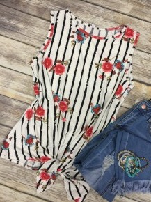 My Life Is For You Floral & Vertical Striped Tank Top  - Sizes 4-20
