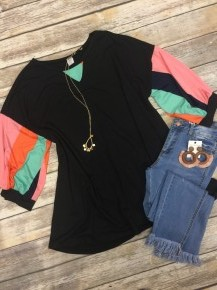 Know You Mean Well Abstract Bubble Sleeve Top In Black - Sizes 12-20