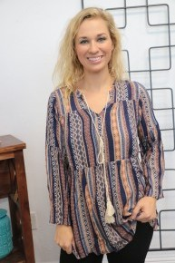 See It My Way Boho Babydoll Top in Navy - Sizes 4-20