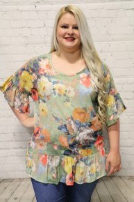 Showing Off Floral Print Peplum with Ruffled Hem in Multiple Colors-Sizes-12-20