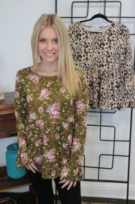Been Awhile Babydoll Top With Ruffle Sleeve In Multiple Prints- Sizes 12-20