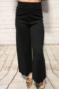 All That I Have High Rise Crop Pants With Scalloped Hem In Black - Sizes 4-10