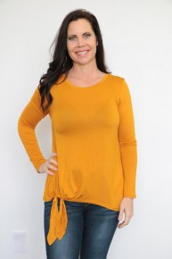 Your Cutest Basic Top with a Tie in Mustard - Sizes 4-10