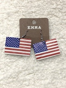 True Blue American Flag Leather Earring