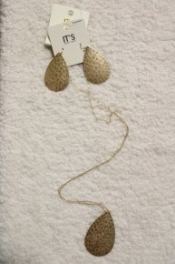 Time To Shine Gold Hammered Teardrop Earring And Necklace Bundle